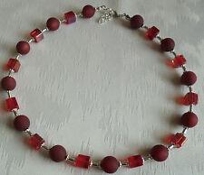 Perlen Kette Halskette Collier Polarisperlen rot Würfel Silber NEU