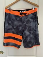 Hurley JJF Phantom Boardshorts Swim Trunks Black / Green / Orange MSRP $65.00