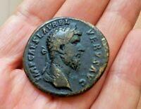 LUCIUS VERUS SESTERCE / ANTIQUE ROMAN COIN SESTERCIUS / MONNAIE ROMAINE