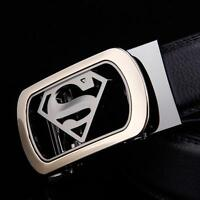 Fashion Mens Automatic Alloy Buckle Waistband Leather Belt Waist Strap Superman