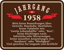 Geburtstag Fun Schild 60 Jahre - Jahrgang 1958 - Blechschild bedruckt Geschenk