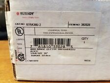 LOT OF 3 BURNDY K11A36U-2 2x 2AWG-600MCM 3/8mm stud holesUNIVERSAL TERMINAL LUG