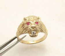 Size 10 Men's Lion Head Ring Ruby Eyes Real Solid 10K Yellow Gold 5.3gr
