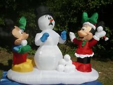 8' Christmas Lighted Prototype Mickey Minnie SnowbaIl Fight inflatable Airblown