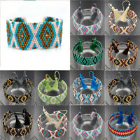 Handmade Glass Beads Pattern Bohemian Woven Tassel Wrap Friendship Bracelet