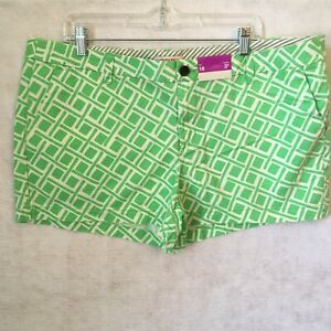 "Merona Ladies Shorts Cotton NWT Mint Green & White Size 18 with 3"" Inseam"
