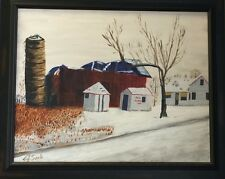 """""""Red Acres"""" by John Senk Original Oil Painting w/frame 16"""" x 20"""""""