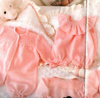 Baby Girl Frilly Smocked Romper & All in one 4 Ply 3 - 18 mths Knitting Pattern