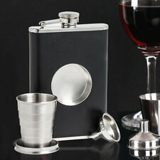 Stainless Steel Leather Wrapped  Hip Liquor Whiskey Alcohol Pocket Flask +Funnel