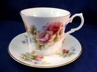 SPRINGFIELD BONE CHINA TEA CUP AND SAUCER - ENGLAND - YELLOW & PINK ROSES