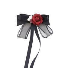Red Rose Ribbon Crystal Flower Men Women Necktie Tie Wedding Brooch Pin