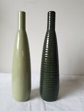 Pair of Tall Modern Ceramic Vases Green Single Stem 32cm