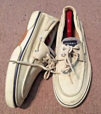 SPERRY TOP-SIDERS, MEN'S SZ 10.5 M, IVORY CANVAS BOAT SHOES
