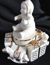 Lenox China Jewels Baby Blocks Music Box Brahams Lullaby 24k Bear Boat Horse