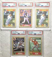 5 cards   1987 Topps ***PSA 9 MINT***  ***HOF*** Boggs, Ozzie, Reggie, Sandberg
