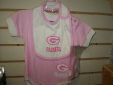 NFL GREEN BAY PACKERS PINK INFANT SET BIB & BOOTIES 3/6 MONTHS NEW