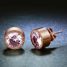 Women'S Rose Gold Round Pink Crystal Anti Allergic Stainless Steel Earrings