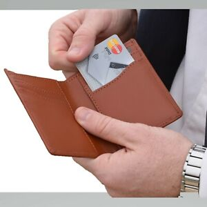 Men's Slim Quality Genuine Leather Vertical Bifold Wallet - TAN - with GIFT BAG