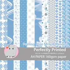 10 Sheets Patterned Decorative A4 Craft Paper Stock - Feeling Blue - 160gsm