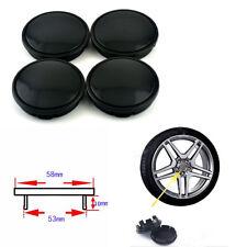 4PCS 53mm Car Hub Caps Set Black ABS Plastic Wheel Hub Center Anti-theft Cover