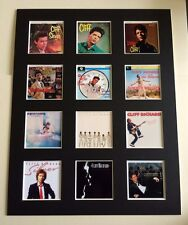 """CLIFF RICHARD 14"""" BY 11"""" LP COVERS PICTURE MOUNTED READY TO FRAME"""