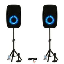 """Acoustic Audio AA15LBS Powered 2000W 15"""" Bluetooth LED Speakers w/ Mics & Stands"""
