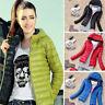 Winter Womens Slim Thin Hooded Coat zipper Trench Jacket Parka Outwear Overcoat