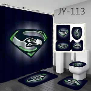 Seattle Seahawks Bathroom Rug Non-Slip Bath Mat Shower Curtain Toilet Lid Cover