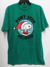 Peanuts Mens Size XL Green Snoopy Don't Stop Believin' Long Graphic T Shirt New