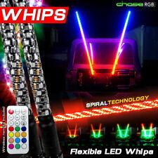Two 5ft Spiral Led Whip Light Antenna Flag Utv Atv for Can Am Polaris Rzr 1000