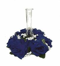 Candle Ring ~ BLUE ~ Silk Wedding Flowers Roses ~ Centerpiece Unity Decoration