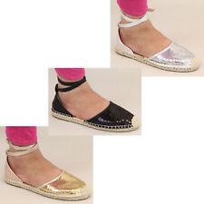 ladies sandals ankle flat low heel strap espadrilles womens sequin plimsolls new