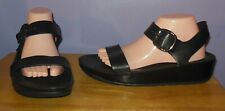 FitFlop Bon Black Leather Wedge Ankle Strap Sandals Women's Size 10