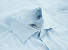Burberry Mens Long Sleeve Button Up Cotton Dress Shirt Blue Check Size 15.5