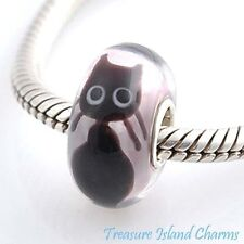 KITTY CAT BLACK LAMPWORK MURANO GLASS .925 Sterling Silver EUROPEAN Bead Charm