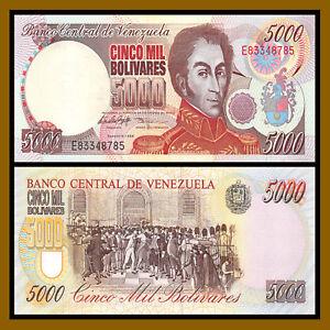 Venezuela 5000 (5,000) Bolivares, 1998 P-78b Simon Bolivare Unc