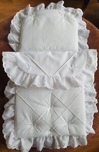 BABY PRAM SET IN WHITE PINTUCK DETAIL TO FIT COACH BUILT PRAMS