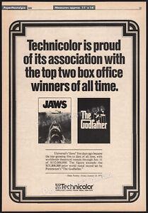 JAWS / The GODFATHER - Technicolor__Original 1976 Trade Print AD promo / poster