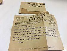 WESTERN UNION TELEGRAM 1932 VINTAGE WESTERN UNION TELEGRAM WITH ENVELOPE