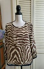 J.Crew Blouse Womens 10 100% Silk Zebra Animal Print Top Brown Cream 10911