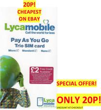 LYCA Mobile Sim Card Pay As You Go 4G Triple Cut Standard/Micro/Nano ONLY 20P!
