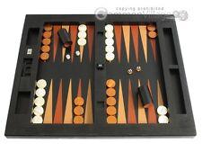 Large LEATHER TABLE TOP Backgammon Set - Zaza & Sacci, Black Lizard, Board Game
