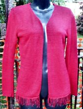 Sz L Red BEST Linen Blend CARDIGAN Thin knit Fringed Bottom Pearl Buttons