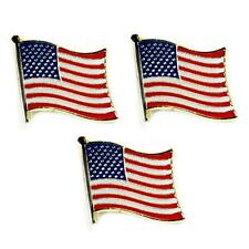 "LOT OF 3 AMERICAN FLAG LAPEL PINS 0.5"" United States USA Hat Tie Tack Badge Pin"