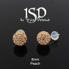 14k Yellow Gold Women's 8mm Peach Austrian Crystal Disco Ball Studs Earrings