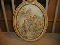 Vintage ABCO Alexander Backer Co. NY Pottery Chalkware Cherub & Roman Couple