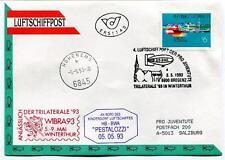 1993 Luftschiffpost n. 4 Pro Juventute Dirigibile HB-BWA Pestalozzi Trilaterale