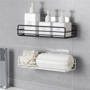 Bathroom Iron Organizer Shelf Rack Storage Kitchen Holder Wall Mounted Basket