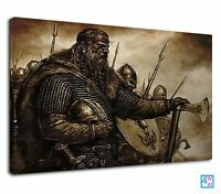 The Legendary Vikings With Army Digital Art Canvas Print Wall Art Picture