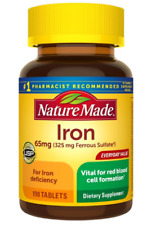 NATURE MADE IRON 65 MG FERROUS SULFATE TABLETS 190 COUNT FOR RED BLOOD EXP 2021+